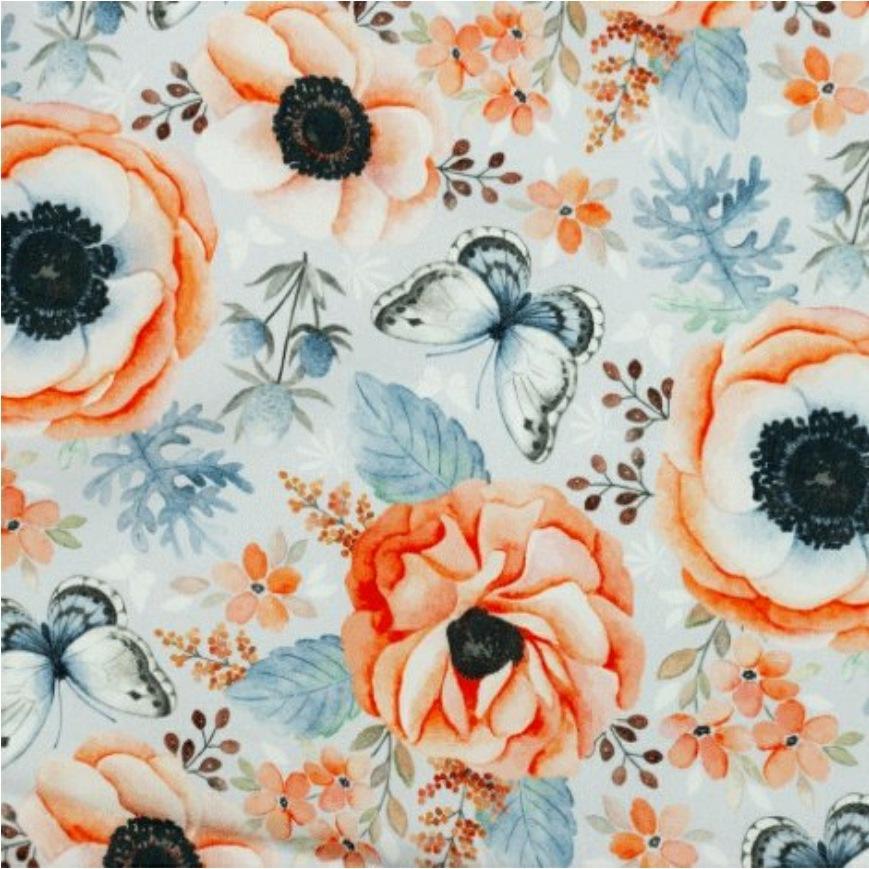 Katoen - Nature Flowers & Butterfly